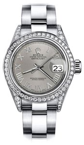 Rolex Rolex Grey Roman 31mm Datejust Custom Diamond Lugs & Bezel