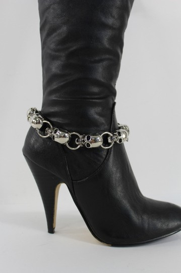 Alwaystyle4you Women Silver Metal Boot Chain Bracelet Anklet Multi Skulls Shoe