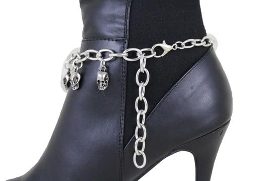 Alwaystyle4you Silver Metal Boot Chain Bracelet Anklet Multi Skulls Shoe New Women