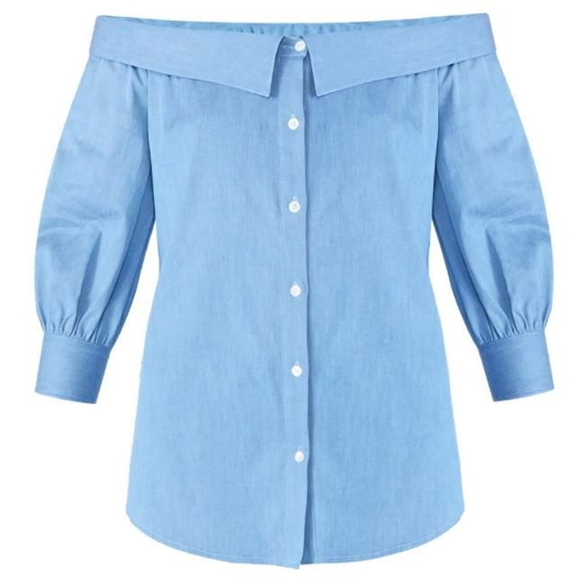 Preload https://img-static.tradesy.com/item/24156609/veronica-beard-chambray-britta-button-down-top-size-8-m-0-0-650-650.jpg
