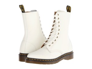 Dr. Martens Leather Fall Zip Ankle White Boots
