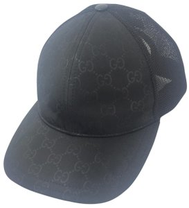 Gucci Gucci GG Black Nylon Canvas Adjustable Baseball Cap, XL , #510950