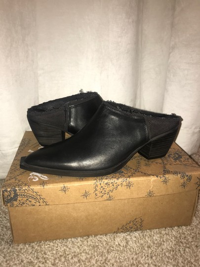 Free People Leather Canvas Black Mules