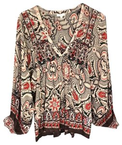 Joie Top Multi- black/brown/red