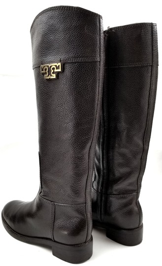 Tory Burch Medallion Logo Riding Grain Leather Brown Boots