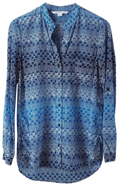 Preload https://img-static.tradesy.com/item/24156839/diane-von-furstenberg-moroccan-lace-catalina-blue-white-gilmore-silk-crepe-collarless-button-blouse-0-1-650-650.jpg