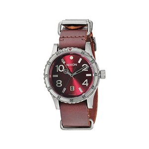 Nixon A269-2073 Diplomat Men's Brown Leather Band With Red Analog Dial Watch