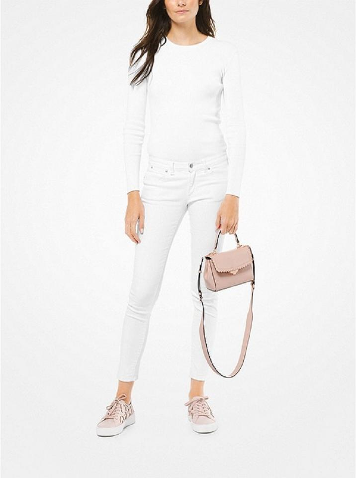 ff9fa35c48f4 MICHAEL Michael Kors Ava Extra-small Scalloped Soft Pink Leather ...