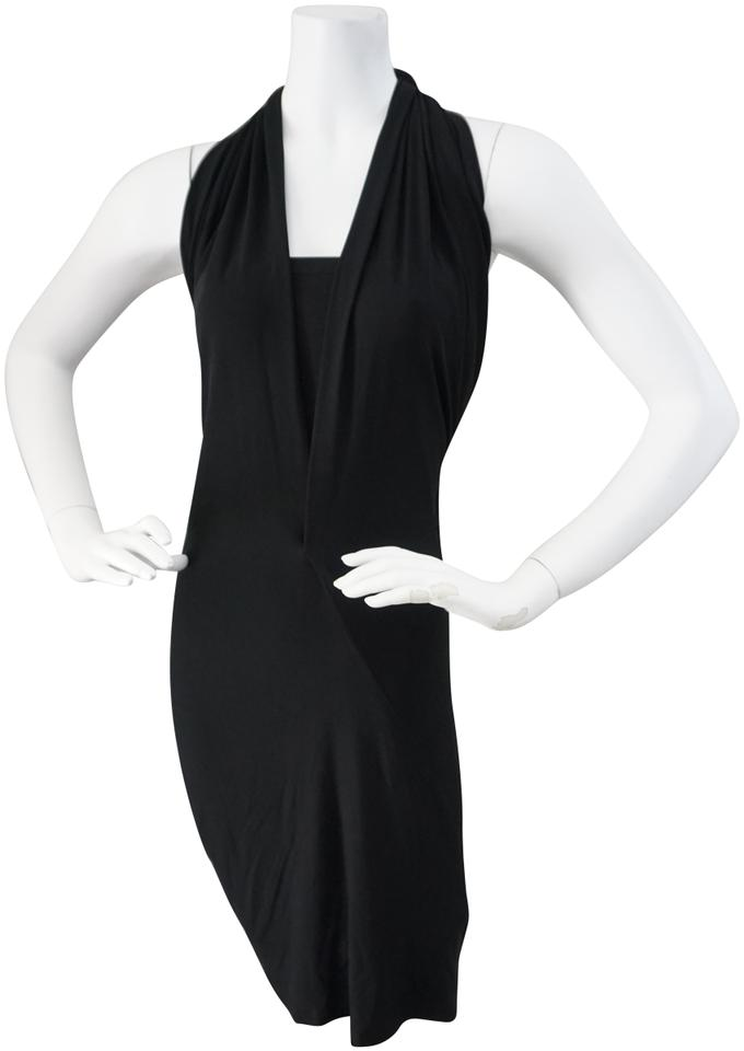 1b4b7d1238 Donna Karan Black Evening Elegant Matt Jersey Halter Mid-length ...