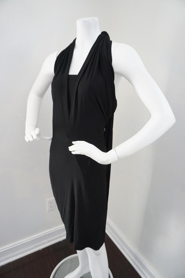 ae82add534 Donna Karan Black Evening Elegant Matt Jersey Halter Mid-length Cocktail  Dress Size 12 (L) - Tradesy