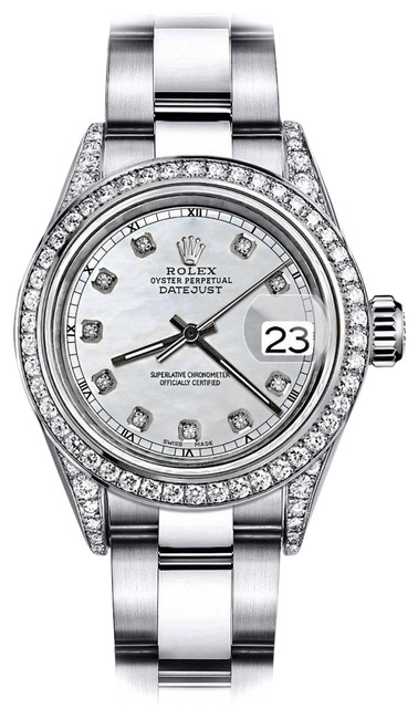 Rolex Stainless Steel White Pearl Track 31mm Datejust Diamonds Bezel & Lugs Oyster Watch Rolex Stainless Steel White Pearl Track 31mm Datejust Diamonds Bezel & Lugs Oyster Watch Image 1