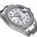 Rolex Stainless Steel White Pearl Track 31mm Datejust Diamonds Bezel & Lugs Oyster Watch Rolex Stainless Steel White Pearl Track 31mm Datejust Diamonds Bezel & Lugs Oyster Watch Image 2