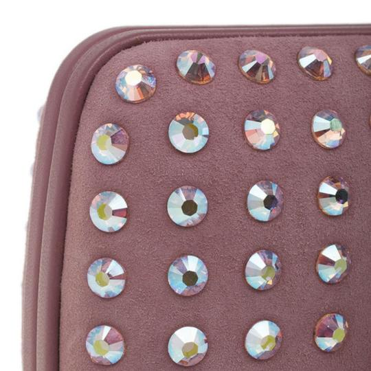 Gucci Broadway Leather Crystals Pink Clutch