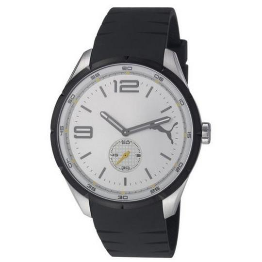 Puma PU103111003 Men's Black Rubber Band With White Analog Dial Watch