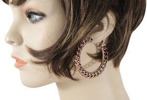 Alwaystyle4you Women Chunky Hoops Thick Bronze Copper Metal Chains Earrings