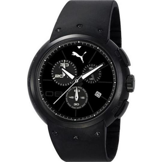 Puma PU102671005 Men's Black Rubber Band With Black Analog Dial Watch