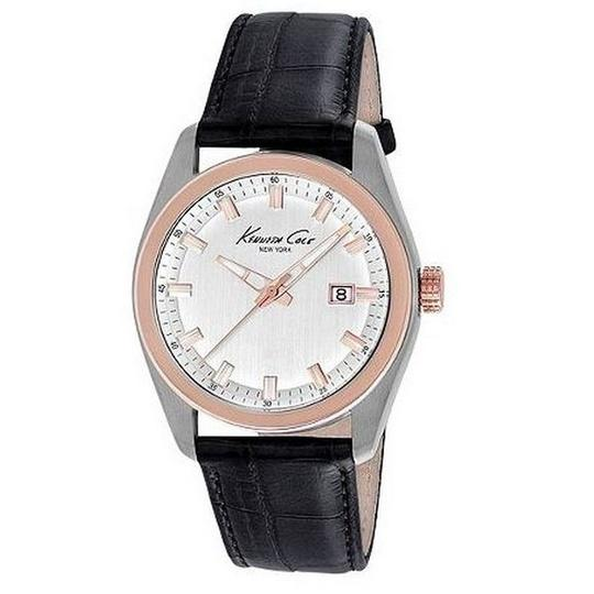 Kenneth Cole KC8037 Men's Black Leather Band With White Analog Dial Watch