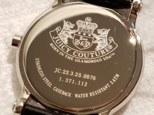 Juicy Couture Juicy Couture White Pink Dial Watch Black Leather Band