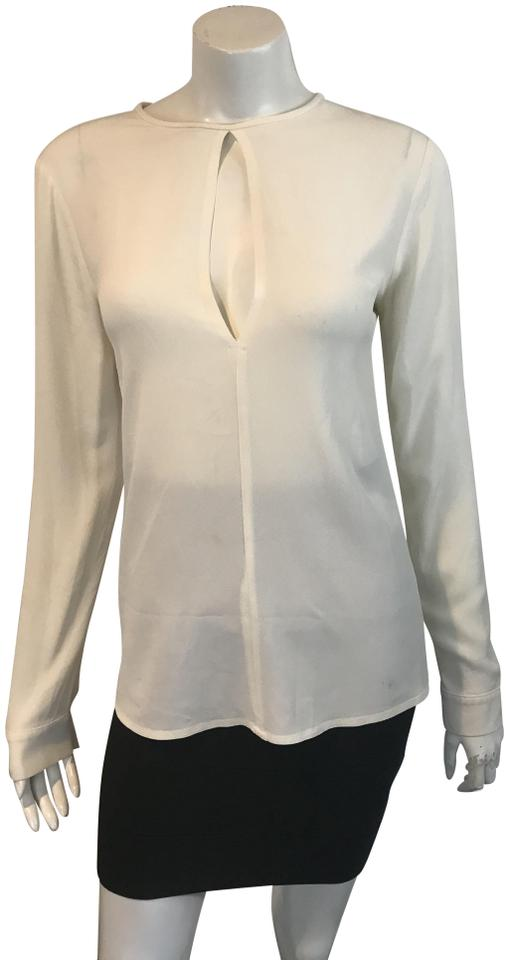 f211b3a6bcbf Michael Kors White 11918 Silk Keyhole Made In Italy Blouse Size 6 (S ...