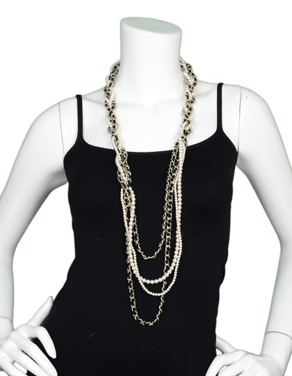 Chanel 2017 Black Leather/Pearl Braided Light Goldtone Long CC Necklace