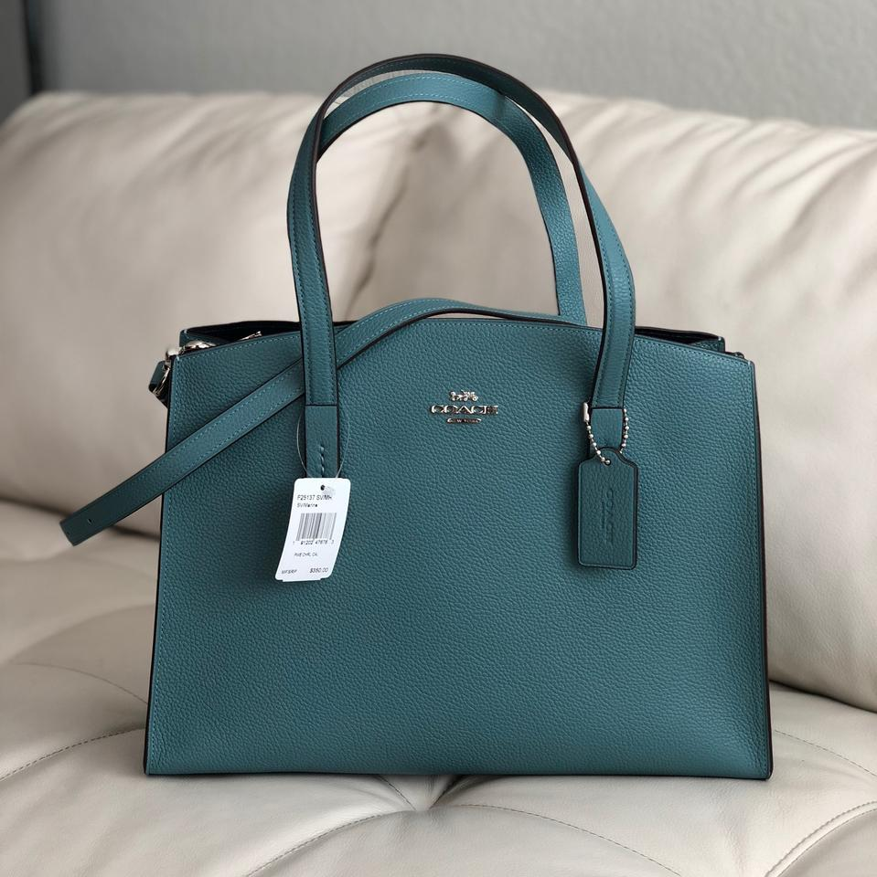 5a5c16f149 Coach Charlie Carryall In Polished Pebble Marine Leather Satchel ...