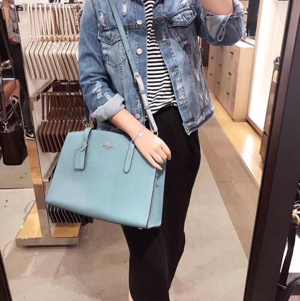 2ace7beb1e Coach Charlie Carryall In Polished Pebble Marine Leather Satchel ...