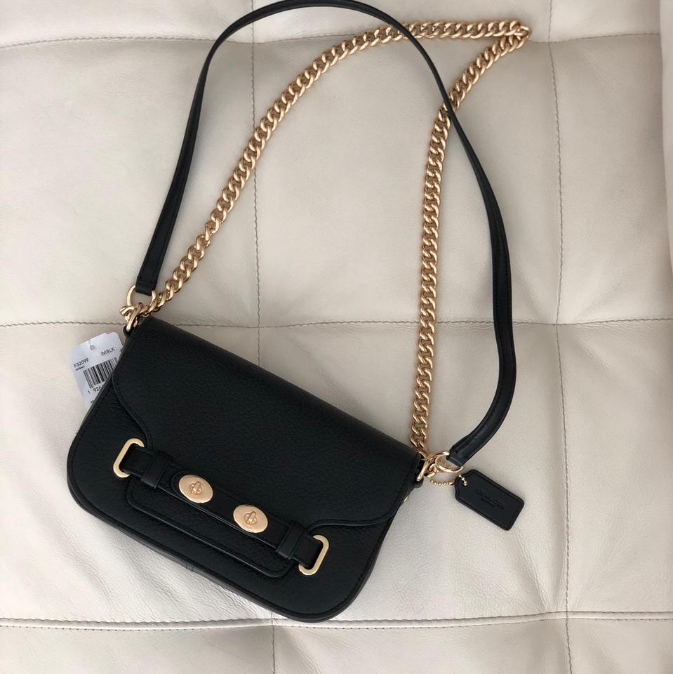 premium selection clearance authentic Coach F32099 Blake 20 In Pebble Black Leather Cross Body Bag 35% off retail