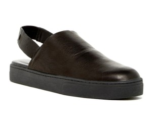 Eileen Fisher Elastic Ankle Strap Round Toe Supple Leather Slip On Styling Slingback Black Flats
