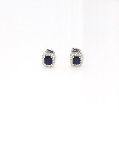 Other Diamond White Gold Sapphire Stud Earring