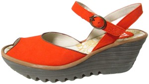 FLY London Leather Classic Comfortable Poppy Orange/Camel Wedges