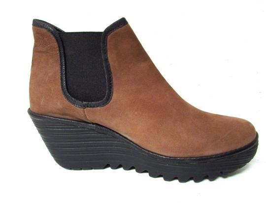 FLY London Leather Chelsea Wedge Classic Comfortable Brown/Black Boots