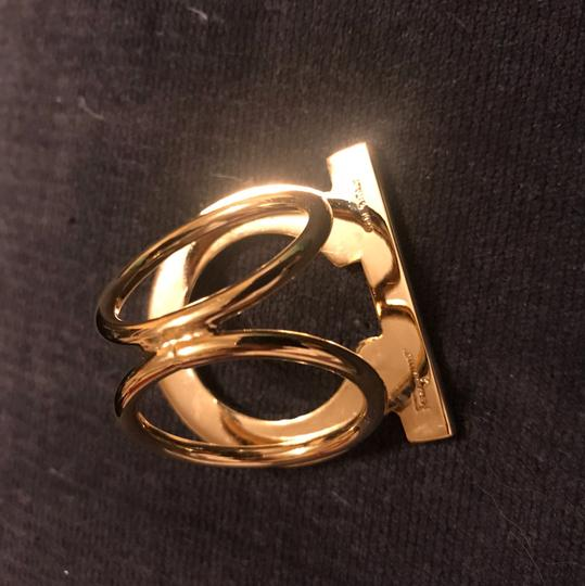 Salvatore Ferragamo gold tone loop scarf ring