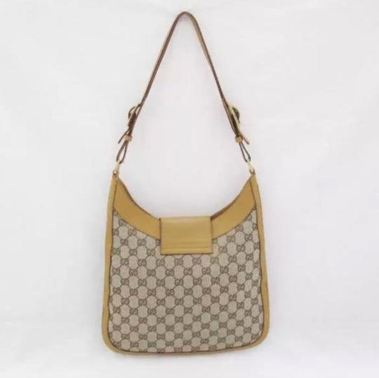 Gucci Tote Yellow & Brown Canvas Shoulder Bag