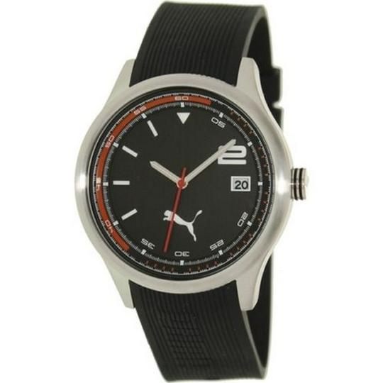 Puma PU102731007 Men's Black Leather Band With Black Analog Dial Watch