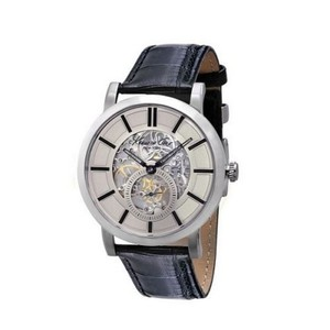 Kenneth Cole KC1932 Men's Black Leather Band With White Analog Dial Watch