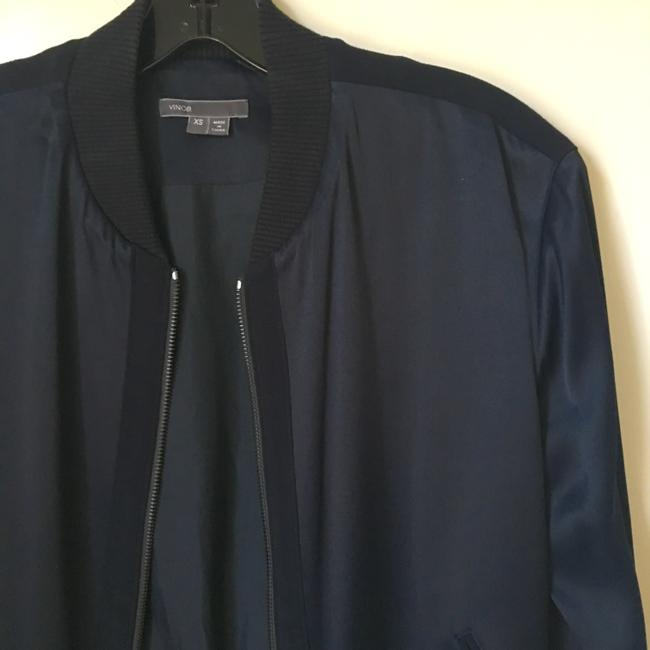 Vince Bomber Lightweight Silk Navy Jacket