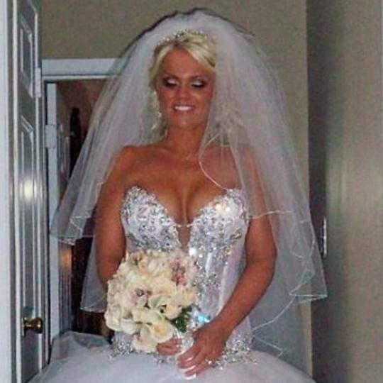 Bright White with Bright White Trim Edging Long 2 Tier Removable Ceremony (Custom Made) Bridal Veil