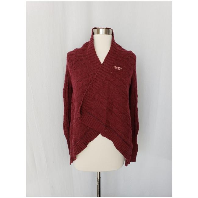 Preload https://img-static.tradesy.com/item/24157949/hollister-burgundy-cable-knit-blanket-sweater-cardigan-size-6-s-0-0-650-650.jpg