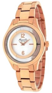 Kenneth Cole 10026947 Women's Rose Gold Steel Bracelet With White Analog Dial Watch