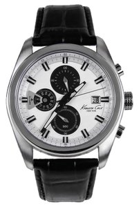 Kenneth Cole KC8041 Men's Black Leather Band With White Analog Dial Watch