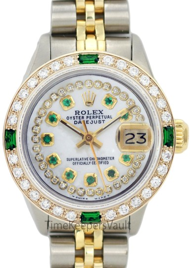 Preload https://img-static.tradesy.com/item/24158167/rolex-white-mop-lady-datejust-two-tone-26mm-emerald-dial-diamond-bezel-watch-0-1-540-540.jpg