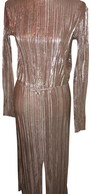 Item - Silver/Gold Foil H & M Mid-length Night Out Dress Size 8 (M)
