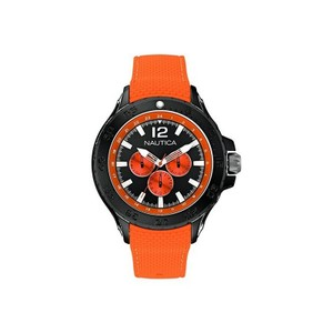 Nautica A18674G Men's Orange Silicone Band With Black Analog Dial Watch