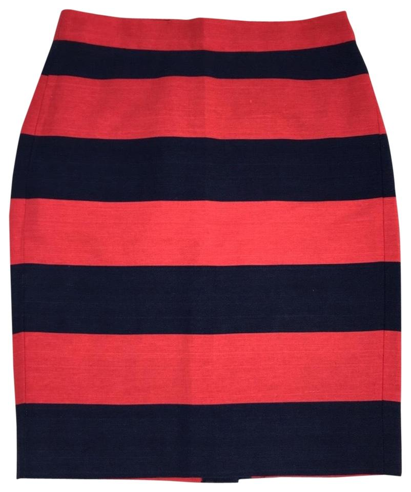 f6370184a5 J.Crew The Pencil In Red and Navy Stripe Skirt Size 00 (XXS, 24 ...
