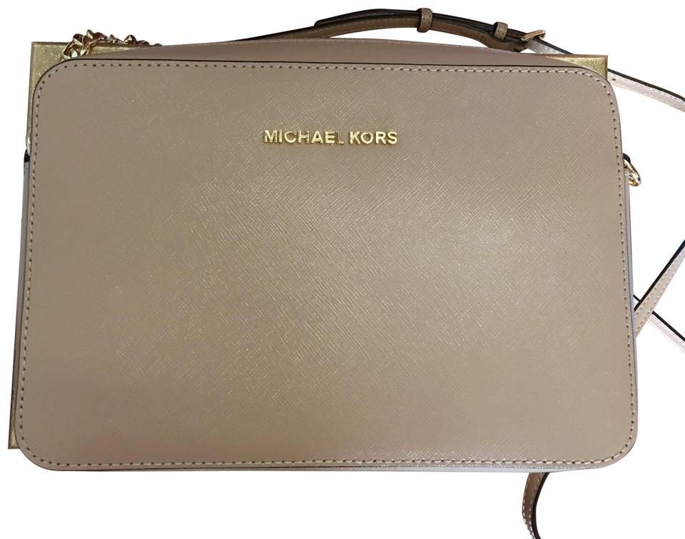 3667ab0a6dbe MICHAEL Michael Kors Jet Set Large Saffiano Leather Oyster Cross Body Bag