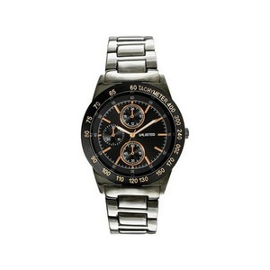 Unlisted by Kenneth Cole 10027963 Men's Silver Steel Bracelet With Black Analog Dial Watch