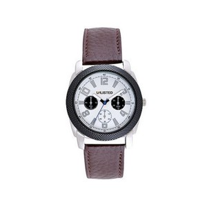 Unlisted by Kenneth Cole UL1289 Men's Brown Leather Band With White Analog Dial Watch