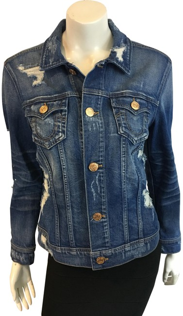 Item - Blue 81918 Embellished Distressed Jacket Size 4 (S)
