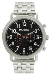 Unlisted by Kenneth Cole 10026684 Men's Silver Steel Bracelet With Black Analog Dial Watch