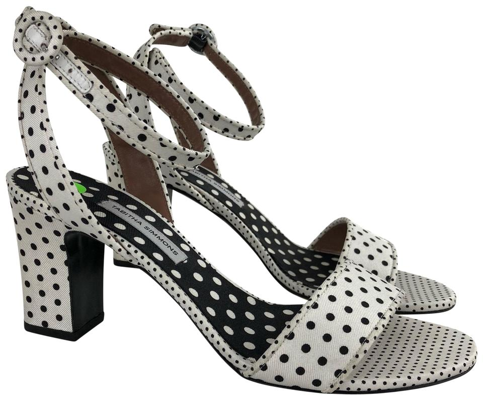 daf3b1c2bb55 Tabitha Simmons White 38 Black Polka Dot Heels Sandals. Size  US 8 ...